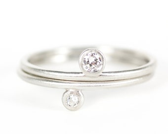 Women's Wedding / Engagement Ring -- recycled platinum and reclaimed diamond