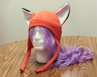 Red Fox Kitsune - Fleece Cosplay Aviator Hat Solid Tassel