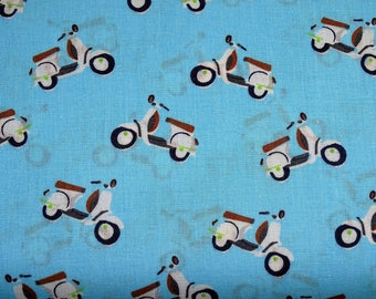 Printed cotton fabric sky blue scooter color patterns