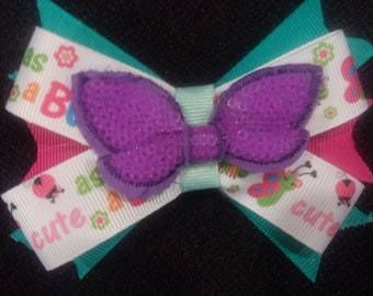 Purple Butterfly Sequin Hair bow
