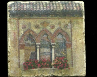 Set of 4 Marble Coasters - Window in Treviso Italy