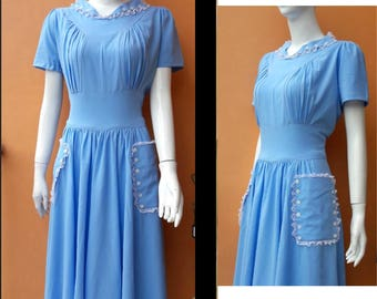 vintage inspired crepe dress custom made swing with lace trim