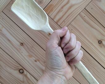 Scottish Silver Birch large hand carved wooden cooking spoon