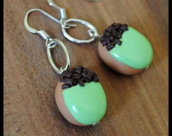 "Earrings ""acorns"" small pastries in polymer clay"