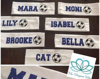 Personalized SPORT TEAM headbands, sport headbands, organized sport team gear, girls sweatband, soccer headband, basketball headband, school