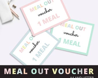 Meal Out Gift Voucher, Last Minute Valentines Gift voucher, Romantic Meal Gift Voucher, Gift Voucher, Birthday Gift Voucher,  Printable PDF