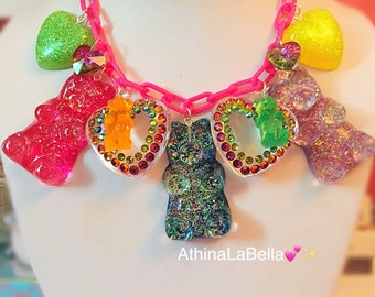 Kawaii Candy Charm Necklace, Gummy Bear Necklace, Toy Charm Necklace, Kitsch Jewelry, Resin Jewelry, Candy Statement Necklace, Rave Jewlery