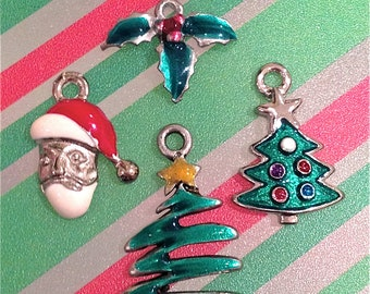 Enameled/Painted/Colored Christmas Collection Charms --4 pieces-(Nickel Plated)--style 1012-