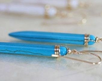 Spike Earrings - Blue Spike Earrings - Turquoise Earrings