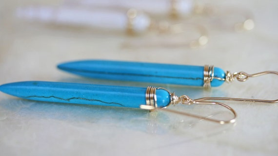 Spike Earrings - Blue Spike Earrings - Turquoise Earrings