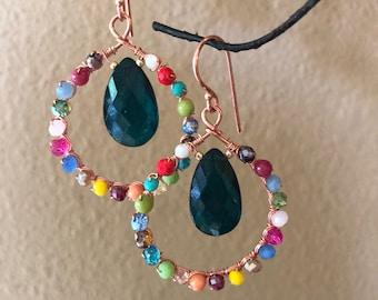 Colorful hoops with teal quartz