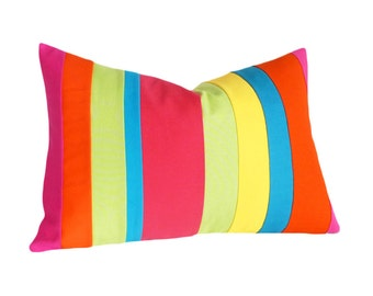 Colorful Kids Pillow, Color Block Pillows, Bright Striped Pillow, Fun Nursery Cushions, Pink Orange Blue Pillow Covers, 14x20 Lumbar Pillow
