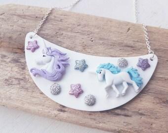 Unicorn necklace unicorn bib necklace unicorn Jewelry  statement unicorn necklace magic unicorn jewellery unique necklace unicorn gift