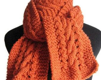 Hand Knit Scarf, The Stef Scarf,  Pumpkin Orange Cable and Lace Scarf, Knitted Scarf, Orange Knit Scarves, Fall Accessories