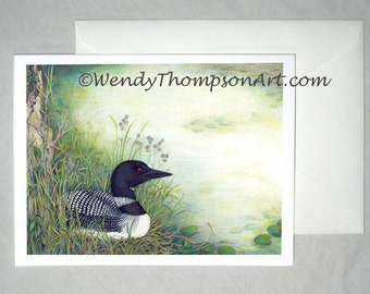 NOTE CARD with envelope. Loon Lake water bird art - Common loon, nature design, lake art water lily, pond reeds cattails