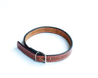 Collar, Cat Collar, Leather Cat Collar, Personalized Leather Cat Collar, Leather Cat Collar, Pink Thread Cat Collar