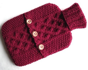 Hot Water Bottle Sweater / Cover - deep cherry red - 100 per cent Scottish wool