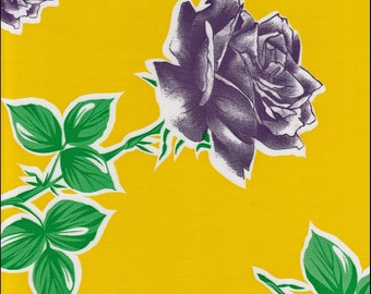 Roses on Yellow Oilcloth By The Yard