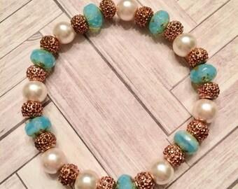 Turquoise, Blush Pearl, & Rose Gold Rhinestone