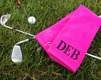 Ladies' Monogrammed Golf Towels Tri-Fold and Grometed | Personalized Gift for Her | Gifts for Her | Ladies Golf | Lady Golfer