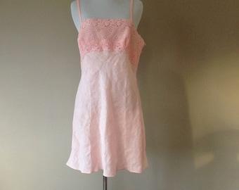 M / Cotton & Linen Nightie Slip Lingerie / Medium / by lejaby Saks Fifth Avenue / FREE USA Shipping