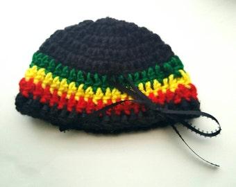 Baby Girl Rasta Hat, Baby Crochet Hat, Rasta Beanie, Rasta Toddler Hat, Crochet Jamaican Hat, Newborn Photo Prop, Baby Shower Gift