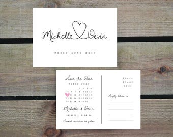 PRINTABLE Save the Date Postcard PDF - Personalised Simple Calligraphy Heart Wedding Save the Date Front & Back - DIY Digital Download Only
