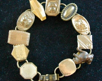"""Vintage Canine Cuff Link Bracelet - """"Bow Wow Swag"""""""