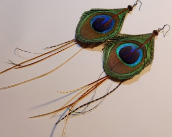 Fashionable natural Peacock feather earrings