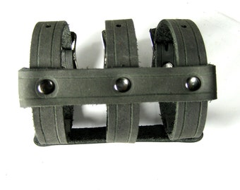 Triple Strap CAGE CUFF Leather Bracelet in Black and Gunmetal