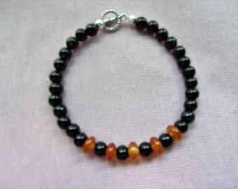 Mens Red and Black Agate bracelet