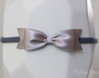 Silver Classic Ribbon Bow Headband OR Clip -  Classic Bow -  Satin Silver  Bow Handmade Headband - Infant to Adult Headband