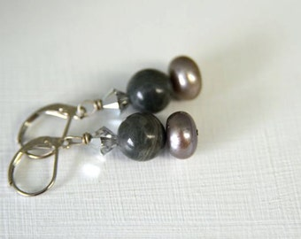 "Pearl Earrings Ocean Jasper Earrings Grey Earrings ""Clair de Lune Collection"""