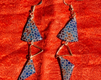 Bohemian earrings inspiration Isamic patterns silver and resin