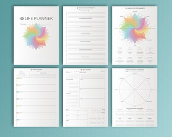 LIFE PLANNER Printable Letter Size 8.5 by 11 Happy Planner Daily, Weekly, diy Planner  Project, Household PDF Planner. Instant Download.