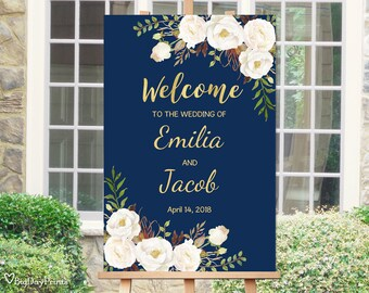 Welcome Wedding Sign, Printable Wedding Reception Sign Template, Navy and Gold, White Flowers, #A057, INSTANT DOWNLOAD, Editable PDF