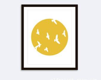 Birds Print - Birds Wall Art - Minimalist Wall Art -  Modern Birds Print - Circle With Birds Print  Sun and Birds Wall Art - 8x10 on 8.5x11