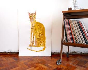 Original Faye Moorhouse painting - YELLOW CAT-  free worldwide shipping