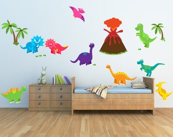 Dinosaur Decals Non-toxic REUSABLE Fabric Wall Decals Boy Decal, A185