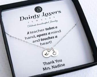 End of Year Teacher Gift / Teacher Apple Necklace / Best Teacher / Thank you Teacher Gift / Mentor Present / Silver, Gold Filled, Rose Gold