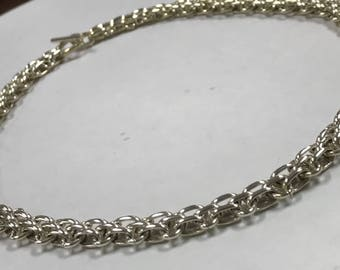 "Beautiful Vintage Style Sterling Silver 925 Designer INDIA Bar Linked Design Necklace Chain With Toggle Clasp 18"" Long"
