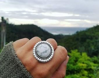 Howlite Round Statement Ring