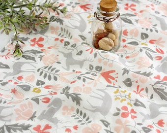 Deer and Flower Pattern Cotton Double Gauze Fabric by Yard