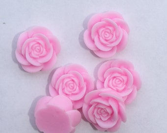 10 OPEN ROSE Cabochons - 20mm - Baby Pink Color