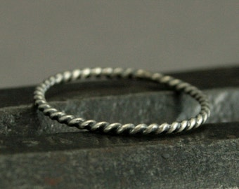 Mini Sterling Silver Twist Band - 16 Gauge 1.3 mm Twisted Round Wire - Great for Customization in your Stacking Set - Silver Stacking Ring
