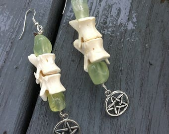 Real Woodchuck Vertebrae Pentacle  Earrings - Swamp Witch - Bayou Magick - Pagan - Tribal - Ancient Earth Magick - Witchcraft - Shamanism