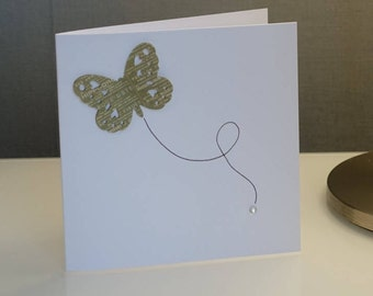 Blank Greeting Card (Sage Green Butterfly - Paris Themed)