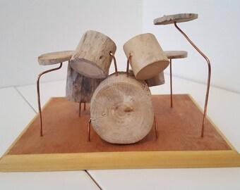 Miniature Driftwood Drum Kit Model