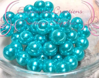 10mm Turquoise Acrylic Pearl Beads Qty 50