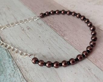 Brown bracelet, chain bracelet, bridesmaid bracelet, anniversary gift, bridal jewellery, wedding bracelet, gifts for her, handmade jewellery